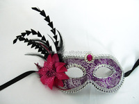 Carnival masquerade half face/eye lace party mask with white lace and red gem