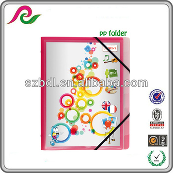 Multipart pp file folders with 3 flaps and elastic straps