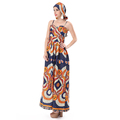 2018 ladies modern dress casual vintage printing ethnic dress