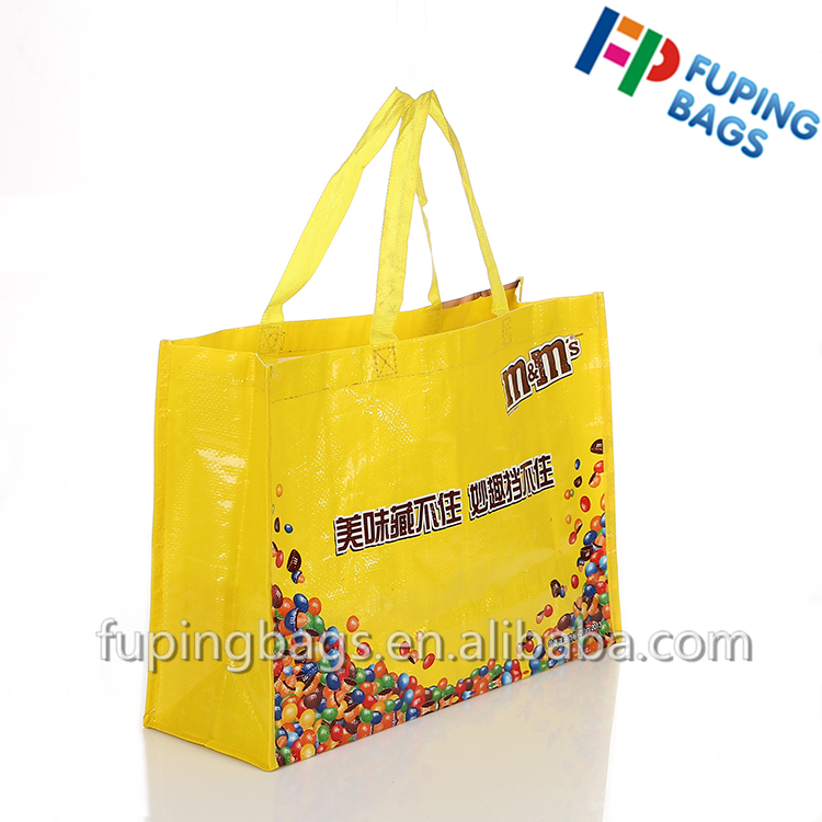 waterproof durable shopping grocery laminated PP woven handle bag with colorful printing