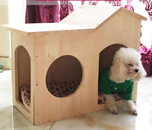 Hot selling china new fashion solid wood pet bed house wood pet doghouse for dog