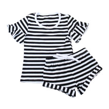 2017 New Arrival Sleep Clothes summer 100% Kids Cotton Stripe Children Pajamas