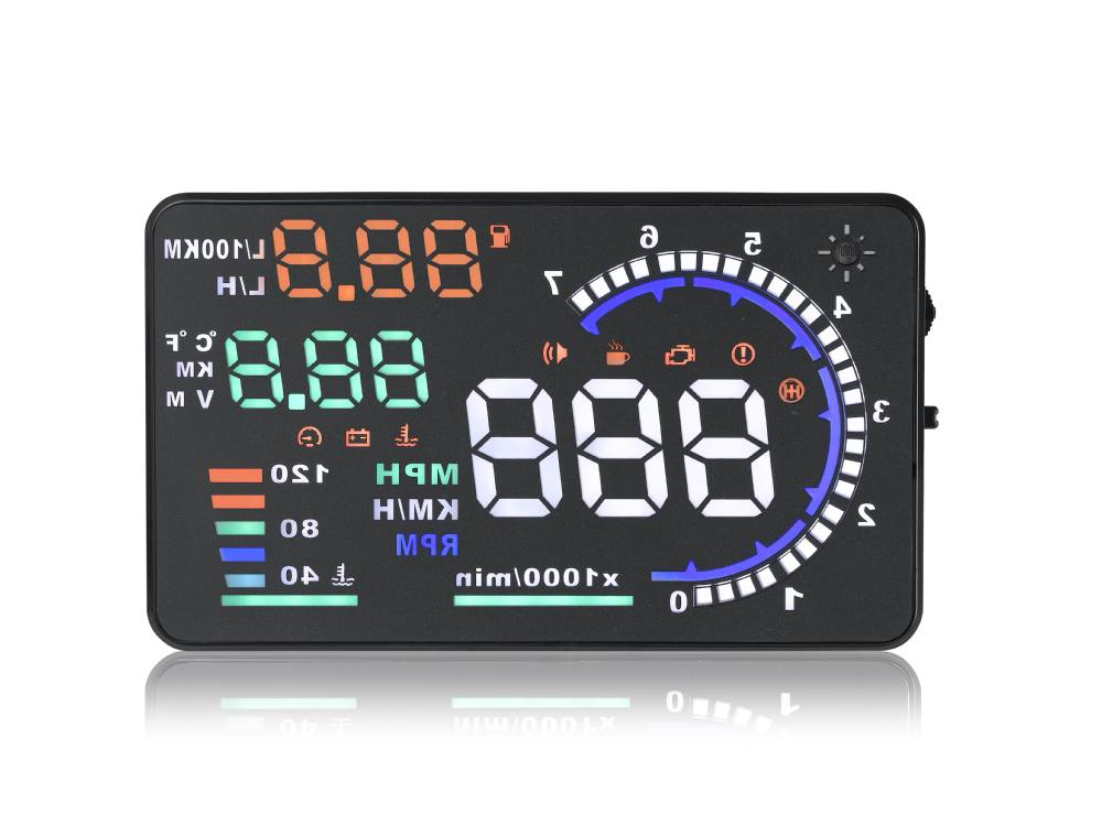 "2015 A8 HUD new design 5.5"" car HUD head up display overspeed wanring speedometer OBD II"