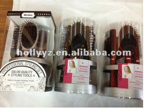 Fashional plastic hair brush and mirror set