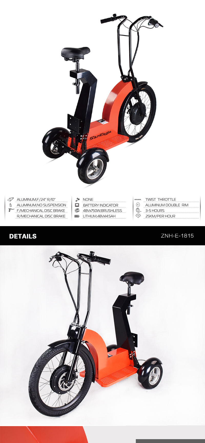 48V 750W Tricycle electric bike