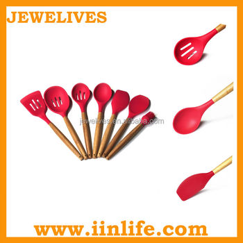 silicone wood plastic kitchenware set