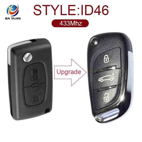 3 button flip key For Peugeot 307 Modified DS Style Folding with ID46 chip 433mhz AK009014
