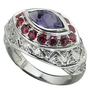 Top Natural Sapphire & Garnet 925 Sterling Silver Ring