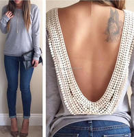 New Design Womens Backless Long Sleeve Shirt Casual Blouse Grey
