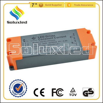 12-18*3W Constant Current LED Driver 600mA High PFC Non-stroboscopic With PC Cover For Indoor Lighting