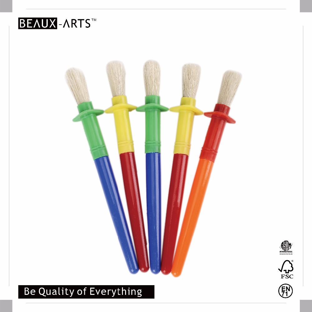 5pcs Round Kids Brush with Stop in Opp Bag for Craft/Oil/Acrylic Paint/Kids Painting