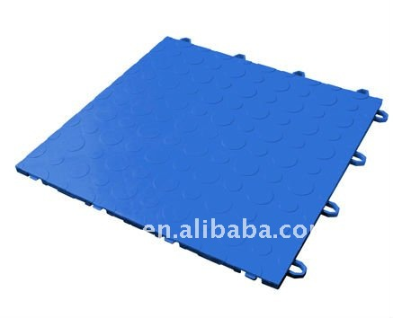 PP Plastic Interlocking Garage Floor Tile--Double Coin Pattern-blue