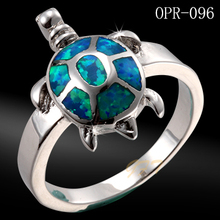 Wholesale fashion ocean jewelry 925 sterling silver opal turtle ring