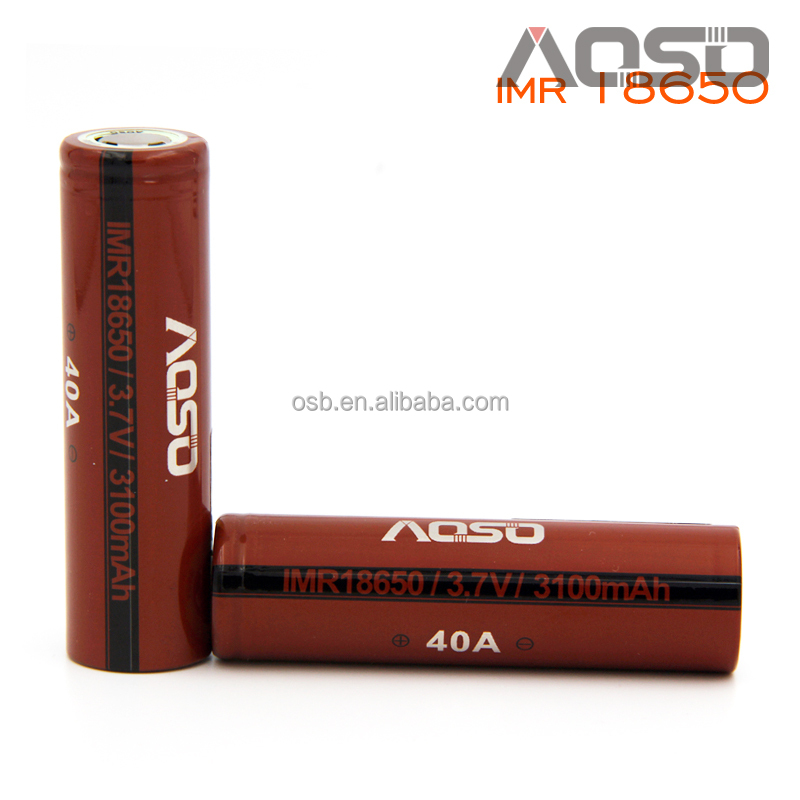 aosibo deep cycle battery 3100mah 3.7v vape mod lithium ion 3100mah 40A rechargebale battery for flashlight