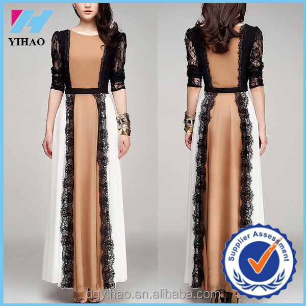 Yihao 2016 quality latest arab ladies caftan fashion dubai lace detailed abaya kaftan design islamic clothing for women