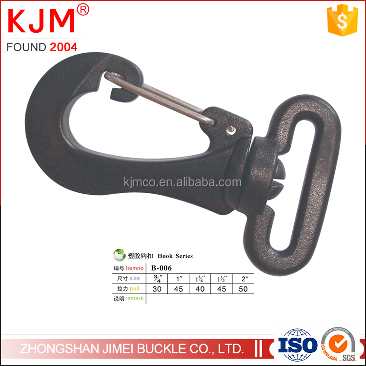 Plastic bag accessory snap swivel hook for backpack