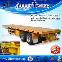 3 axle flatbed container semi trailer / flat bed 40ft container truck with all led lights