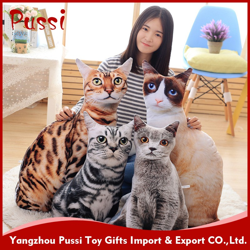 Wholesale real fur animals plush cat toys with a scarf
