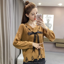 monroo Fashion young lady autumn broken holes bowknot knit sweater
