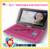 10'' screen portable dvd/evd/vcd player with digital coaxial output 3g game portable evd player