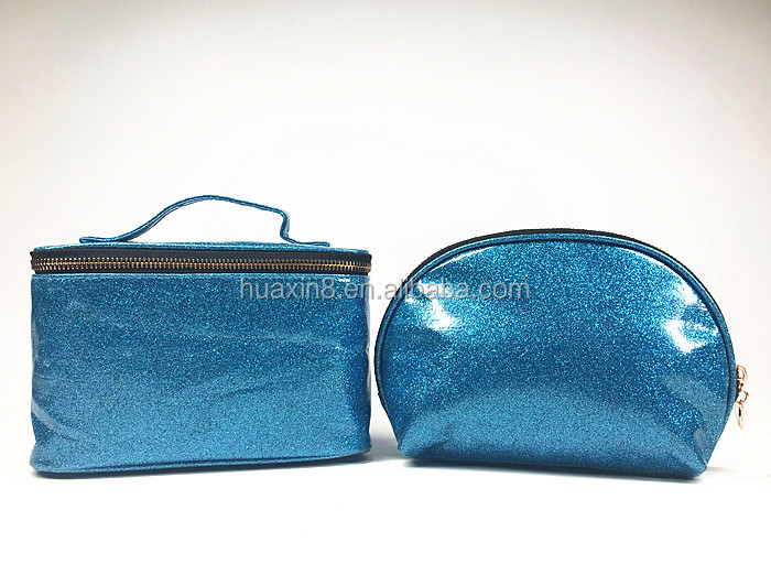 Fashion blue glitter PVC Cosmetic bag set for women