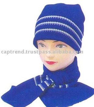 Knitted hat and muffler set