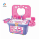 17pcs plastic dresser set for kids,fashion girl makeup mirror toy set with working hair dryer