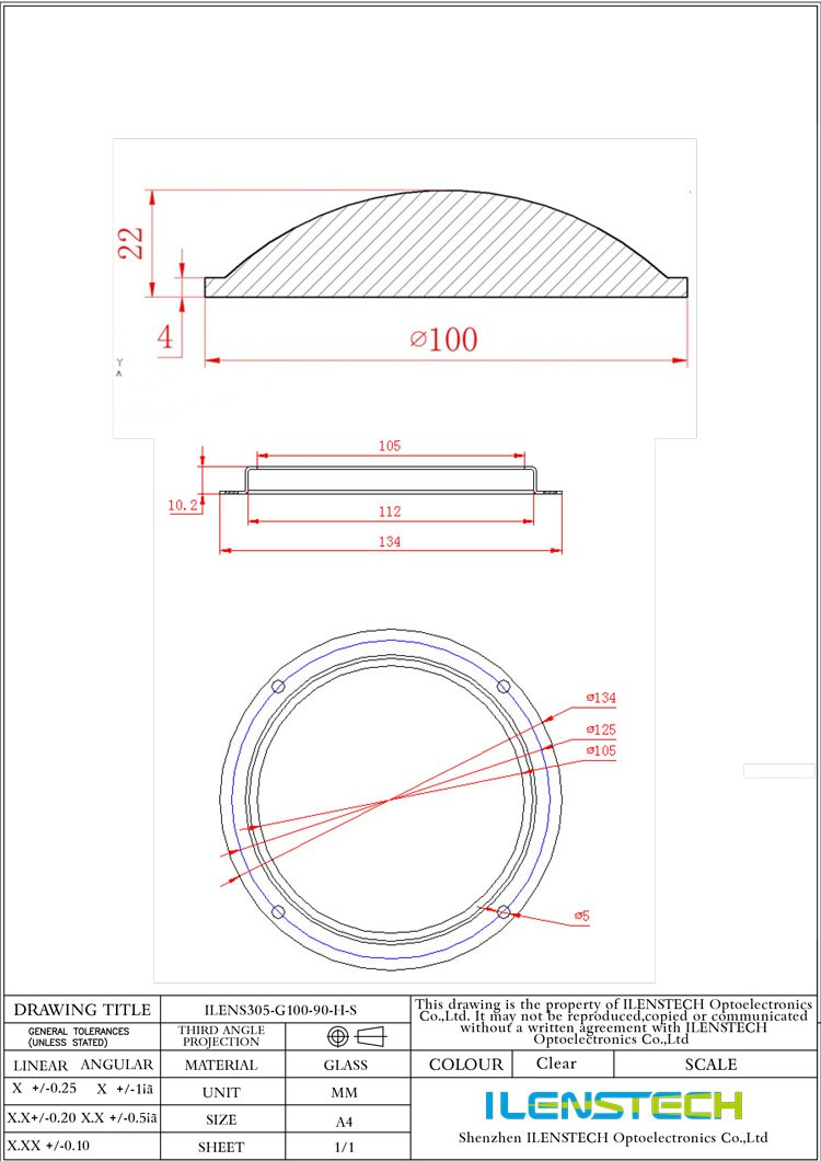 90 degree cob glass led lens 100mm led glass lens by ilenstech
