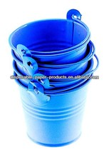 SKY BLUE PLAIN MINI TIN PAIL BUCKETS