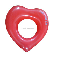 Logo print cheap pvc inflatable heart swimming ring