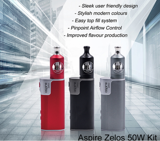 2017 Popular 2ml Nautilus 2 Tank 2500mAh Aspire Zelos 50W Kit ecigratte