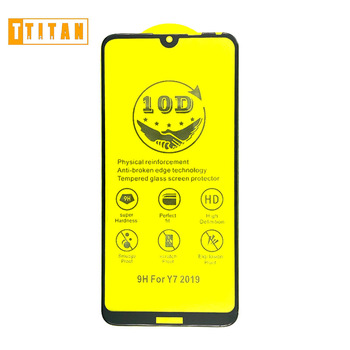 Full Glue Edge to Edge 9H Glass Shield 3D Silk Printing Anti-shock Tempered Glass Screen Protection for Y7 2019 Y9 2019