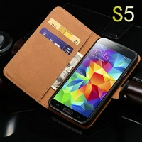 China supplier promotional wholesale genuine leather cell phone pouch for Samsung Galaxy S5 I9600 with ID credit card site