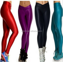 Women's Shiny Solid Color Sexy Stretchable Fabric Pantyhouse Nylon Leggings