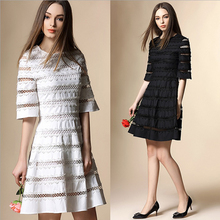 2016 top quality adult lady girls party dress,cotton hollow out embroidered women dress