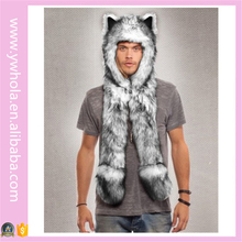 Faux Fur Hooded Scarf Wolf Animal Ear Winter Hat