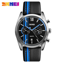 SKMEI 9148 Sports Watches Leather Quartz Wristwatches 3ATM Water Resistant Calendar Stop Watch