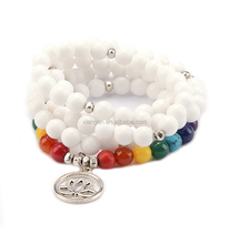 White Jade 7 Chakra healing wrist bracelet 108 mala beads with lotus charm yoga jewelry