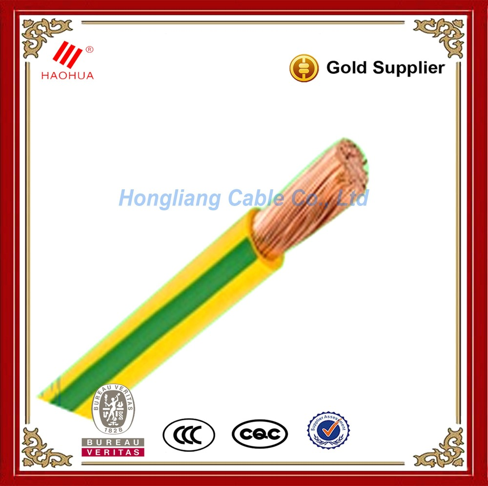 No.0461- 35mm ground 50mm earth cable Copper Conductor PVC earth grounding cable Green Yellow Ground Wire