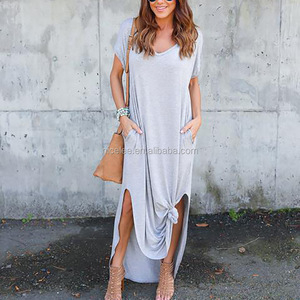 NS1293 wholesale european ladies fashion casual summer t shirt long dress