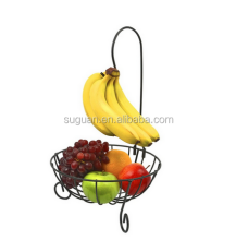 Elegant Home decor metal wire material fruit storage basket stand with banana holder