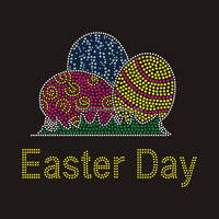 Heat Rhinestone Eggs Iron On Easter Day Appliques Transfer For T-shirt