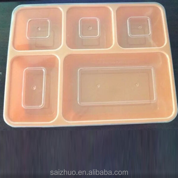 5 compartment lunch box microwave safe BPA free food containers and freezer with clear lid