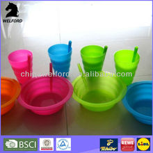plastic ice cream bowl with straw