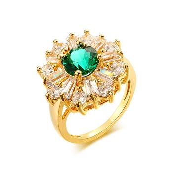 Manufacturers wholesale spot, 20.5 MM gold-plated copper green zircon ring, ring in the Korean version YSS711