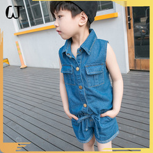 073#2017New Arrival WalkingZone Cotton Fashion Casual Cowboy Embroidered Unisex Denim Kids' Sets For Summer Jeans Wholesale