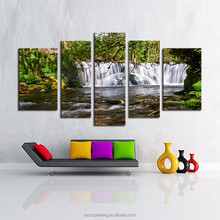 LK586 5 Panel Canvas Print Wall Art Painting Moving Waterfall Modern Giclee Artwork Oil The Picture For Living Room Decoration