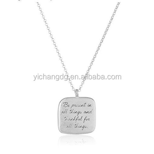 Stainless Steel Gold Plated Be Present In All Things Quote Square Pendant Necklace