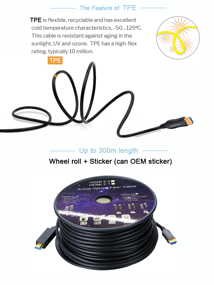 FAST SPEED HDMI 2.0 AOC 10M 20M 30M Support 4K 18G HDMI FIBER OPTIC CABLE