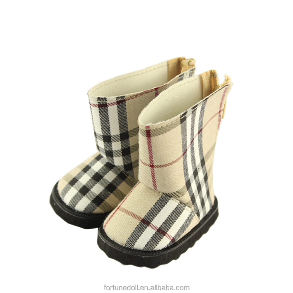 JC035-doll shoes- 18 inch american girl doll light tan plaid pattern winter boot-doll manufacturer china